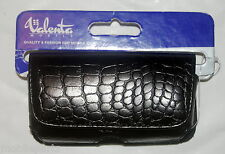Valenta Mobile Black Leather Croco Case + Belt Loop for Samsung D900 F480 G600