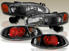 98 99 00 TOYOTA COROLLA HEADLIGHTS & CORNER LIGHTS & TAIL LIGHTS BLACK