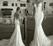 NEW Backless Mermaid Beach Wedding Dress Bridal Gown Custom 2-4-6-8-10-12-14-16+
