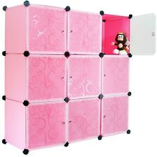 DIY Home Storage Cube Cabinet for Clothes Shoes, Bags, Office, Pink (9) Cubitbox