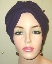 Turban ChemoHat Purple  Knit Cancer Hat Hijab