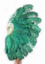 "Large 2 Layers 34""x 60"" Forest Green Ostrich Feather Fan Burlesque with Gift Box"