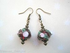 *RASPBERRY PINK ROSE FLOWER LAMPWORK GLASS BEAD* Bronze Drop Earrings Gift Bag