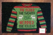 "Ugly Christmas Sweater Coir Doormat Welcome Rug Entry Doormat Red Green 18""x 28"""