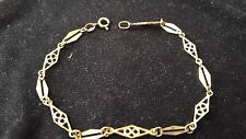 18K Yellow Gold Chain Filigree Bracelet Beautiful Design, 7.5""