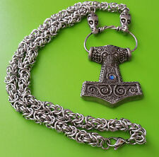 Viking Chain Skane Thor's Hammer Mjölnir Pewter Pendant Necklace - Blue Jewel