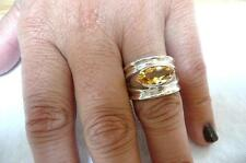STUNNING CITRINE 925 SHINY STERLING SILVER BAND RING SIZE P US SIZE 8