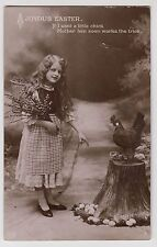 POSTCARD - easter greeting, pretty girl child with chicken/hen, eggs & chicks