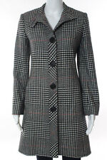 Teenflo Black White Houndstooth Long Sleeve Button Front Coat Size 4