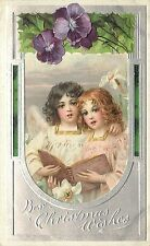 Embossed Chromolithograph Christmas Postcard Angels Cherubs Choir Singers Posted