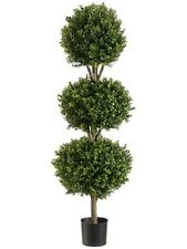 """56"""" Boxwood 3 Ball Topiary Artificial Tree W Pot In Outdoor Plant Patio Fake"""