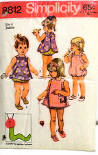 Retro Little Girls Playsuit & Pinafore Pattern, w/Apps, Size 4