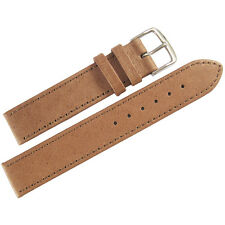 20mm Mens Fluco Tan Smooth Pigskin Leather German Made Watch Band Strap