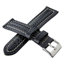 Padded Carbon Fiber Leather Lined Mens Watch Band Strap Fibre fits Seiko & Omega