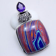 925 Sterling Silver Handmade Rainbow Calsilica Gemstone Fashion Jewelry Pendant