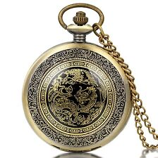 Vintage Antique Phoenix Dragon Pattern Case Quartz Pocket Watch Necklace Chain