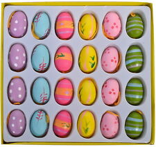 EASTER DECORATION 24 WOODEN 3D MINI EGGS ASSORTED COLORS 2CM WITH HANGING CORD