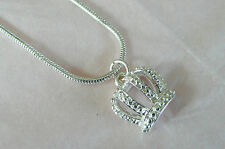 ACCESSORIZE SILVER NECKLACE - ENGRAVED CROWN SHAPED PENDANT - BRAND NEW