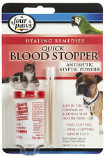 FOUR PAWS BLOOD STOPPER POWDER .5 OZ QUICK STOP ANTISEPTIC DOG CAT FREE SHIP USA