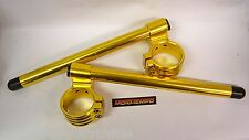 "Gold Alloy Clip On Handle Bar kit for 50mm Dia forks 30mm Rise  22mm 7/8"" bar"
