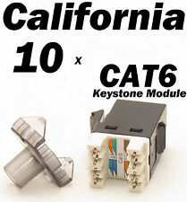 10 X Pcs Keystone 8P8C CAT6 RJ45 Network 110 Style Socket Punch Down Jack Black