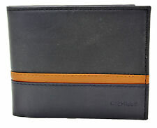 NEW TOMMY HILFIGER BLACK LEATHER CREDIT CARD DOUBLE BILLFOLD MEN'S WALLET