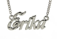 18K White Gold Plated Necklace With Name ERIKA - Accessories Personalised Custom