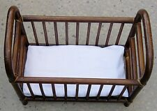 "Brown 16"" Bent Wood Doll Crib Bed w Foam Rubber Mattress"