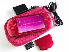 Authentic SONY PSP 3000 Console Radiant Red with 4GB Card Battery Charger Bag