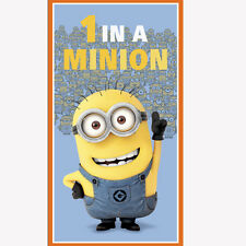"""Despicable Me 1 In a Minion Blue 100% cotton 43"""" fabric by the Panel  (24"""")"""