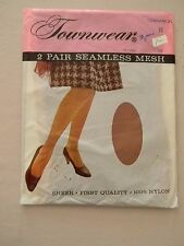 Townwear  Seamless Mesh  Stockings/Nylons-Cinnamon- Size 10 - 2 pair