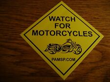 Watch For Motorcycles Yellow Decal Bumper Sticker Set of 2