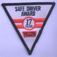 VINTAGE Big Rig YELLOW TRUCKING Safe Driver Award 17yr EMPLOYEE Service PATCH