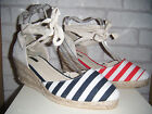 Ladies White With Red Or Blue Stripe Espadrille Wedge Shoes. Sizes 3,4,5,6,7&8