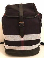BURBERRY DRIFTON BLACK CANVAS CHECK BACKPACK