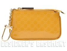 GUCCI yellow Patent MICRO GUCCISSIMA Leather POUCH Case clip-on wallet NIB Auth