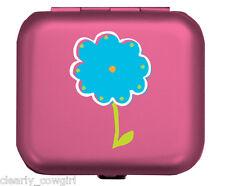 #8904 -- WELLSPRING HOT PINK BLUE FLOWER  ALUMINUM PILL BOX -WOW!