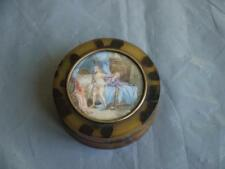 FINE ANTIQUE CIRCULAR FAUX TORTOISESHELL TRINKET BOX WITH EROTIC WATER COLOUR