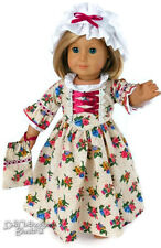 "Colonial Gown + Mob Cap & Drawstring Purse for 18"" American Girl Doll Clothes"