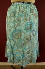 NOTATIONS Petite* Flowy Godet Insets Lined Skirt in Teal/Aqua ~ size PL ~ NWT