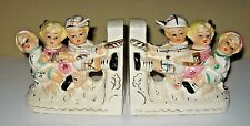 Vintage Royal Seely Childern Playing Tug Of War Hand Painted Bookends Figural