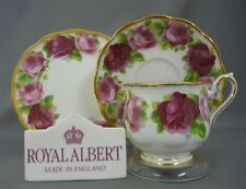 Nice Royal Albert Old English Rose Bone China Tea Cup & Saucer & Plate Trio Set