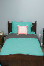 5 Piece Dorm Twin XL Reversible Bed In A Bag Set: Arctic Blue and Charcoal Gray