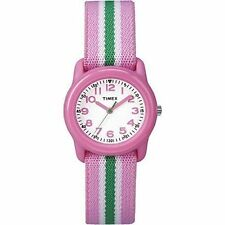 Kids Timex Time Teacher Pink Elastic Nylon Fabric Band Watch TW7C05900