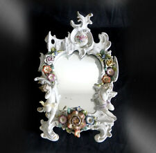 Dresden vintage ornate table mirror with cherubs - FREE SHIPPING