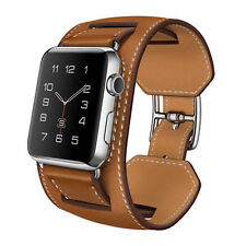 Premium Genuine Leather Brown Cuff Band Strap For Apple Watch iWatch 38MM