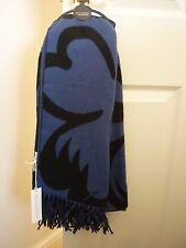 JOHN ROCHA MIDNIGHT BLUE & BLACK FLOWER SPOT BLANKET LONG SCARF BNWT. LOVELY