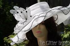 Whittall & Shon Kentucky Derby Church Special Occasion Hat Black White Women's