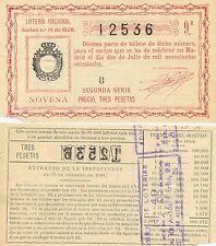 Lotería Nacional. Sorteo Número 18 de 1928. Número 12536.