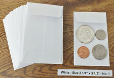 100 NEW SMALL 2 1/4 X 3 1/2 WHITE COIN ENVELOPES 5.7x8.89cm (coins not included)